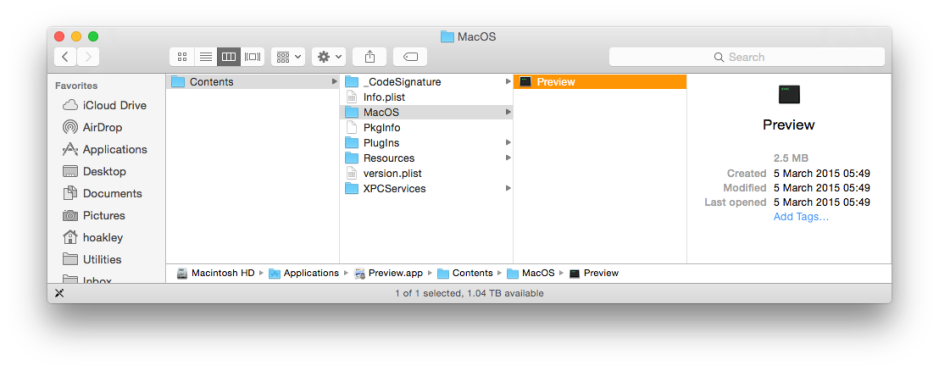 The structure of Preview.app, showing its main executable program code in the MacOS folder.