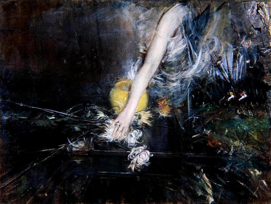 Giovanni Boldini, Arm with a Vase of Flowers (1910). WikiArt.