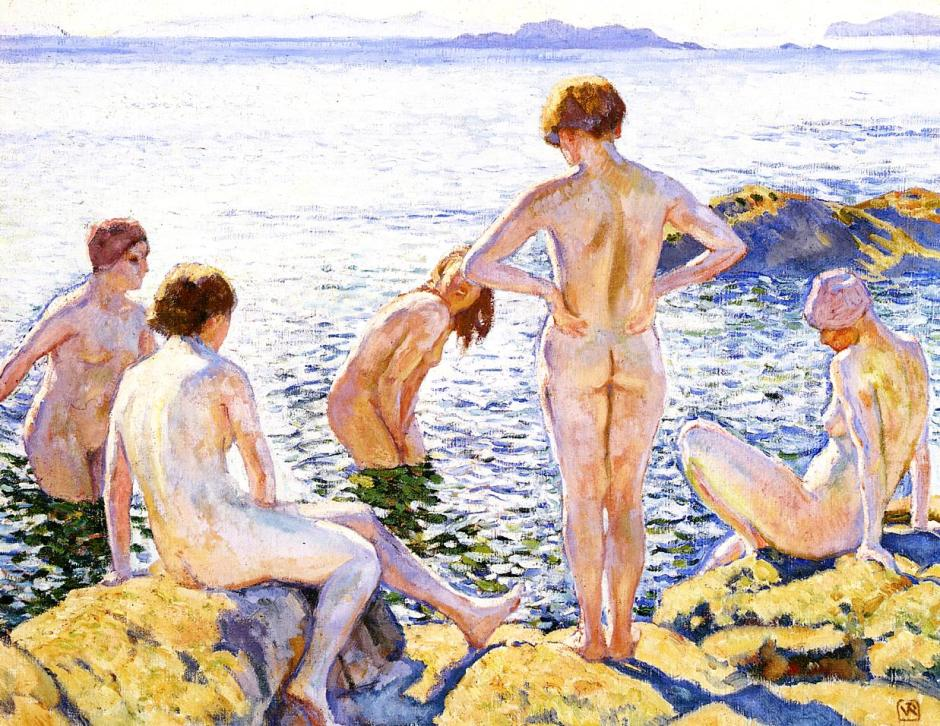 Théo van Rysselberghe, Bathers (c 1920), oil on canvas, 58 x 74 cm, Stedelijk Museum, Amsterdam. WikiArt.