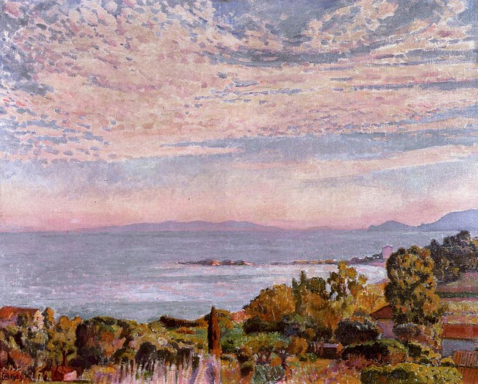 Théo van Rysselberghe, la Baie de St Clair (The Bay of St Clair) (1923), oil on canvas, 91.4 x 73.6 cm, Private collection. WikiArt.