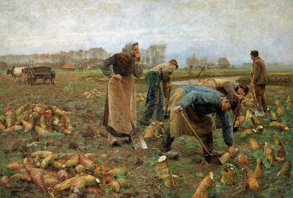 Émile Claus, Récolte des betteraves (The Beet Harvest) (1890), oil on canvas, 320 x 480 cm, Musée de Deinze et du Pays de la Lys, Belgium. WikiArt.