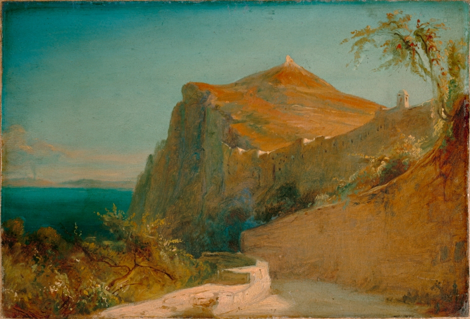 Carl Eduard Ferdinand Blechen, Tiberiusfelsen auf Capri (Tiberius Rocks, Capri) (1828-9), oil on paper mounted on canvas, 20.5 x 30 cm, Lower Saxony State Museum, Hanover. Wikimedia Commons.