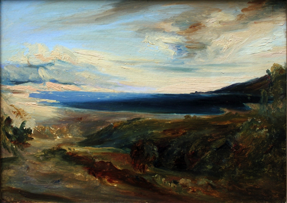Carl Eduard Ferdinand Blechen, Meeresbucht in Italien (Bay in Italy) (1829), oil on canvas, 21 x 31 cm, Alte Nationalgalerie, Berlin. Wikimedia Commons.