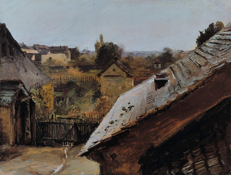 Carl Eduard Ferdinand Blechen, Blick auf Dächer und Gärten (View of Roofs and Gardens) (c 1835), oil on paper mounted on board, 20 x 26 cm, Alte Nationalgalerie, Berlin. Wikimedia Commons.