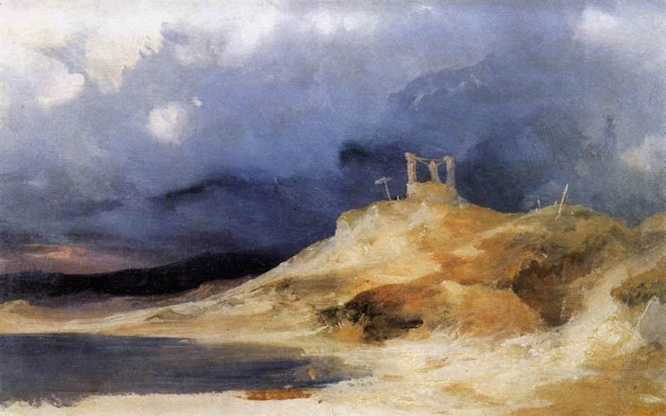Carl Eduard Ferdinand Blechen, Galgenberg bei Gewitterstimmung (A Scaffold in a Storm) (c 1835), oil on paper mounted on board, 29.5 x 46 cm, New Masters Gallery, Dresden. Wikimedia Commons.