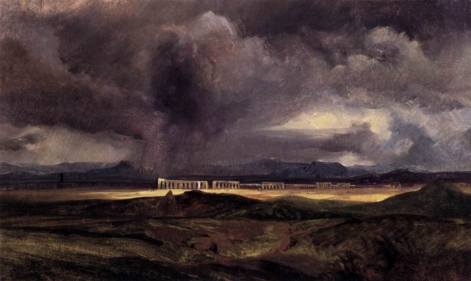 Carl Eduard Ferdinand Blechen, (Stormy Weather over the Roman Campagna) (1823), oil on board, 28 x 45 cm, Alte Nationalgalerie, Berlin. Wikimedia Commons.