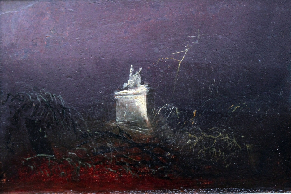 Carl Eduard Ferdinand Blechen, Grabmal (Study for a Funerary Monument) (c 1824-7), oil on board mounted on panel, 14 x 23 cm, Alte Nationalgalerie, Berlin. Wikimedia Commons.
