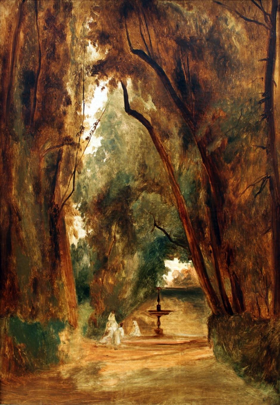 Carl Eduard Ferdinand Blechen, Im Park der Villa Borghese (In the Park of the Villa Borghese) (1823), oil on canvas, 78 x 63 cm, Alte Nationalgalerie, Berlin. Wikimedia Commons.