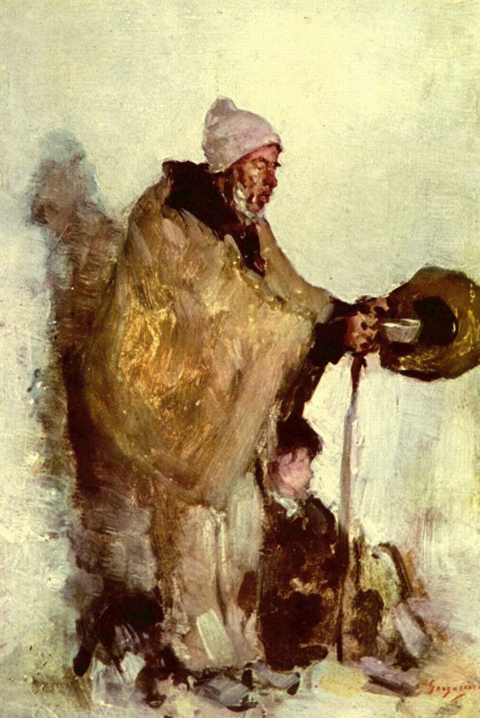 Nicolae Grigorescu, Breton Beggar (date not known), oil on panel, 25.5 x 16.5 cm, Private collection. WikiArt.