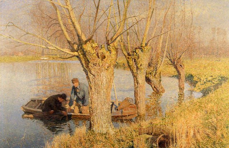 Émile Claus, (Bringing in the Nets) (1893), oil on canvas, dimensions not known, Musée d'Ixelles, Ixelles. WikiArt.