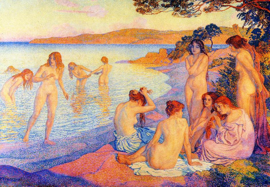 Théo van Rysselberghe, l'Heure embrasée (Provence) (The Glowing Hour (Provence)) (1897), oil on canvas, 228 x 329 cm, Staatliche Kunstsammlungen, Weimar. WikiArt.