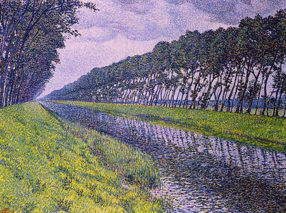 Théo van Rysselberghe (1862-1926), Canal in Flanders (1894), oil on canvas, 152.4 x 203.2 cm, Private collection. WikiArt.