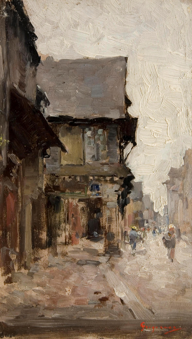 Nicolae Grigorescu, Road in Vitré (1876-86), oil on canvas, 23.4 x 14 cm, National Museum of Art of Romania, Bucharest. WikiArt.