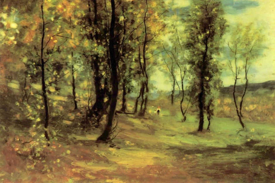 Nicolae Grigorescu, Clearing (1896), oil on canvas, 54.5 x 81.5 cm, National Museum of Art of Romania, Bucharest. WikiArt.