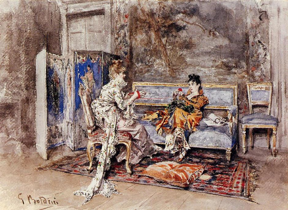 Giovanni Boldini, The Conversation (1870), watercolour on paper, Private collection. WikiArt.