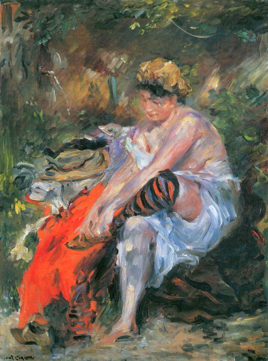 Lovis Corinth, Nach dem Bade (After the Bath) (1906), oil on canvas, 80 x 60 cm, Kunsthalle, Hamburg. Wikimedia Commons.