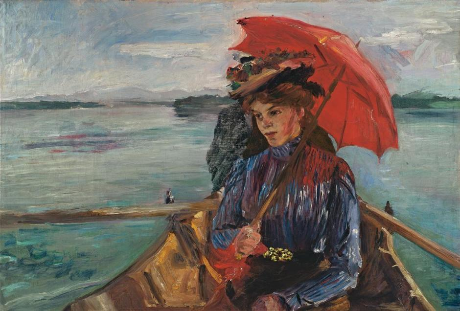 Lovis Corinth, Fräulein Heck (im Boot auf dem Starnberger See) (Miss Heck (in a boat on Lake Starnberg)) (1897), oil on canvas, 59 x 86 cm, Private collection. Wikimedia Commons.