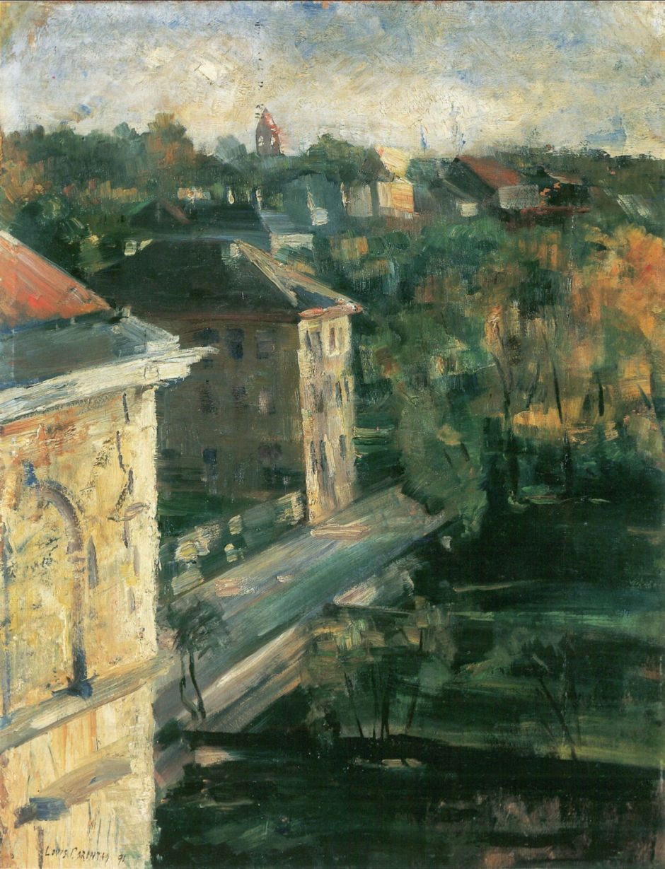 Lovis Corinth, Blick aus dem Atelierfenster (View from the Studio Window) (1891), oil on cardboard, 64.5 x 50 cm, Neue Galerie, Linz. Wikimedia Commons.