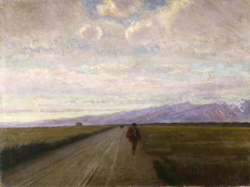 Nino Costa, Strada in pianura (1890), oil, further details unknown. Fondazione Cariplo, via Wikimedia Commons.