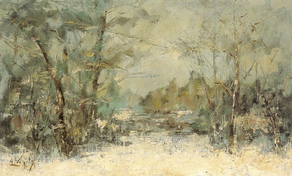Guillaume Vogels, De vijver in de winter (The Pond in Winter) (1895), oil on canvas, 53 x 71.5 cm, Stedelijke Musea Sint-Niklaas, Sint-Niklaas. Wikimedia Commons.
