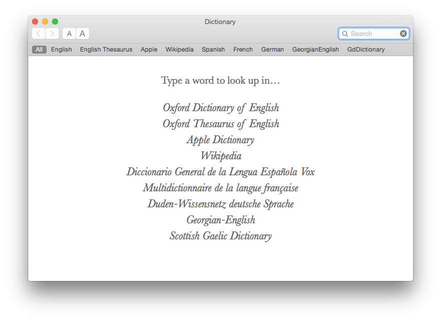 The Dictionary app offers an excellent range of reference dictionaries: this is but a small sample.