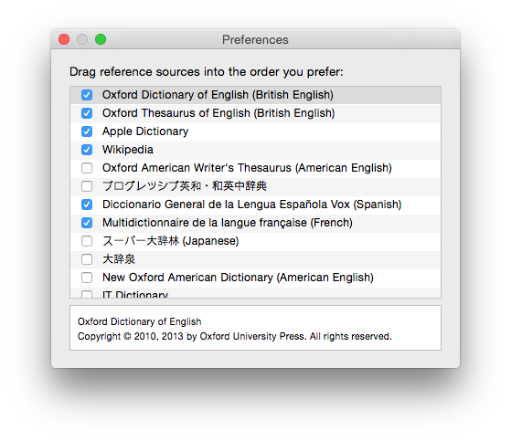Add further reference dictionaries using the Dictionary app's Preferences dialog.