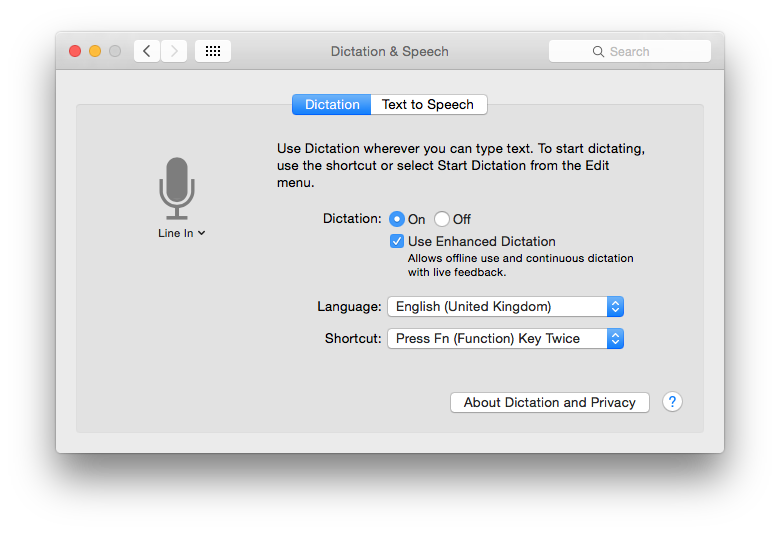 Turn Enhanced Dictation on to allow continuous speech conversion, and for that to take place on your Mac.