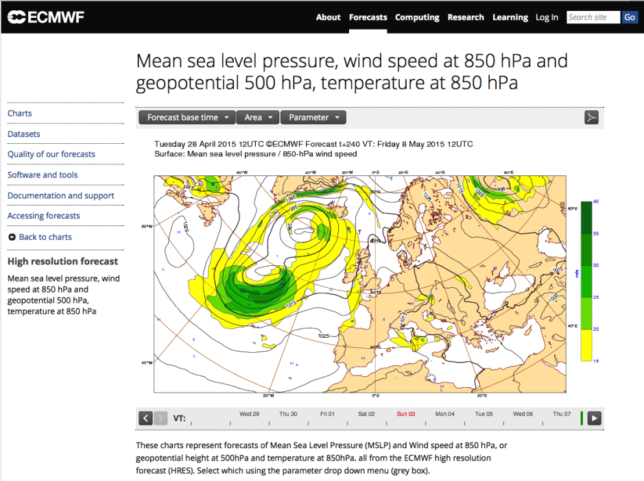The only free 'product' from the European Centre for Medium-Range Weather Forecasting gives a good view of the 10 days ahead.