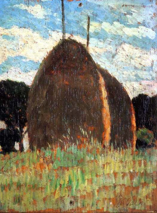 Giovanni Fattori, Haystacks (date unknown), oil on canvas, dimensions unknown, Location unknown. WikiArt.