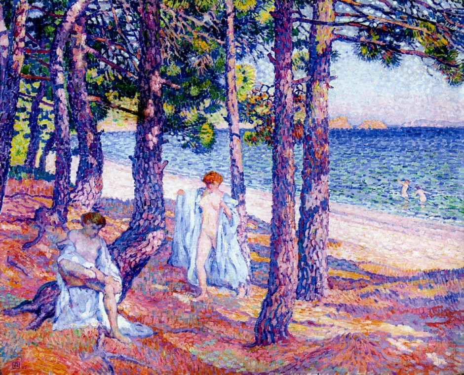 Théo van Rysselberghe, Baigneuses sous les pins, à Cavalière (Bathers under the Pines at Cavalière) (1905), oil on canvas, 81.5 x 100.5 cm, Private collection. WikiArt.