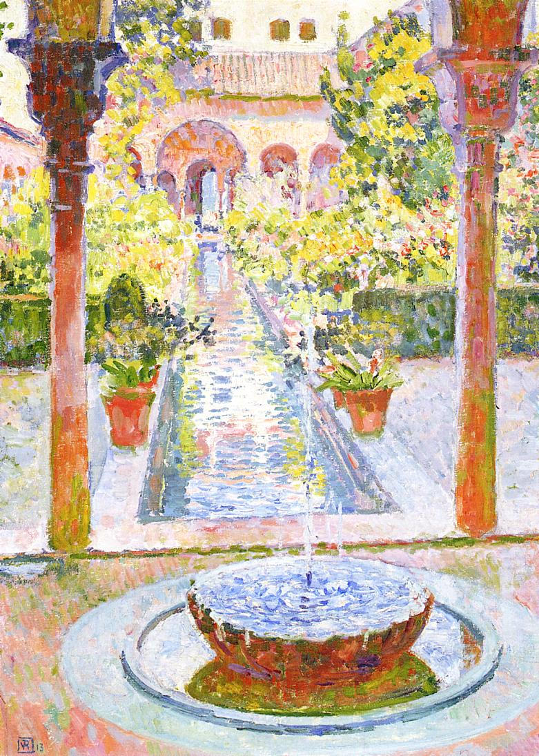 Théo van Rysselberghe, Fountain at the Generalife in Granada (1913), oil on canvas mounted on cardboard, 65.8 x 46 cm, Private collection. WikiArt.