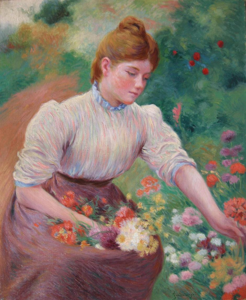 Federico Zandomeneghi, A Girl Picking Flowers (date unknown), oil on canvas, further details unknown. WikiArt.