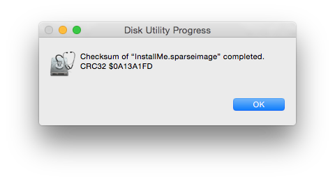 Disk Utility can calculate the CRC32 checksum of disk images.