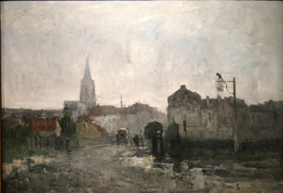 Guillaume Vogels, Ixelles, matinée pluvieuse (Ixelles, Rainy Afternoon) (c 1883), oil on canvas, 104 x 152 cm, Royal Museums of Fine Arts of Belgium. Wikimedia Commons.