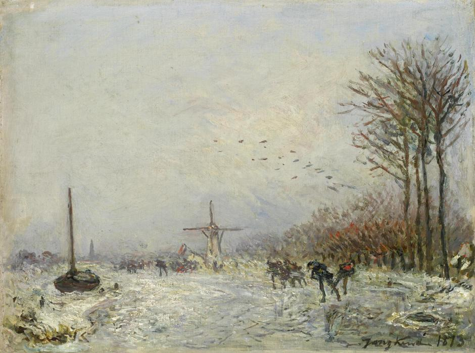 Johan Barthold Jongkind, Canal in Holland in Winter (1873), oil on canvas, 25 x 32 cm, Private collection. Wikimedia Commons.