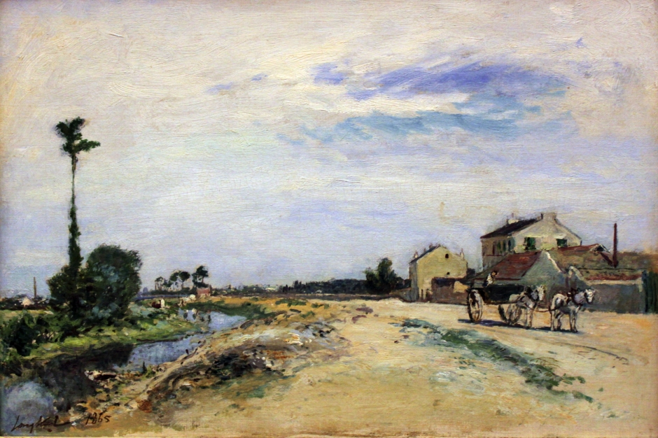 Johan Barthold Jongkind, Little Channel on the Seine at Meudon (1865), media and dimensions not known, Alte Nationalgalerie, Berlin. Wikimedia Commons.