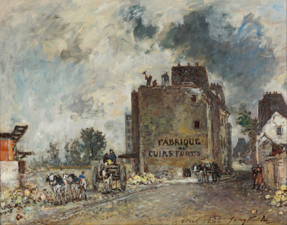 Johan Barthold Jongkind, Demolition Work in Rue des Franc-Bourgeois St Marcel (1868), oil on canvas, 56.7 x 66.1 cm, Gemeentemuseum, The Hague. Wikimedia Commons.
