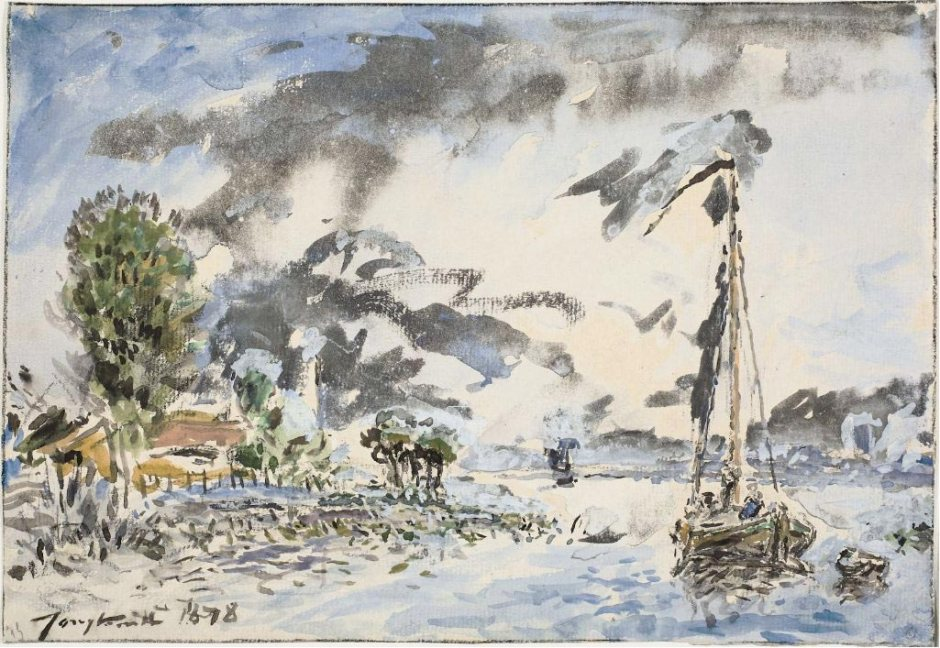 Johan Barthold Jongkind, Fishing Boat (1878), watercolour and body colour and black chalk on paper, 18.4 x 26.6 cm, Art Institute of Chicago, Chicago. Wikimedia Commons.
