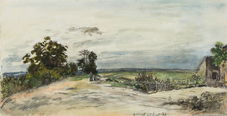 Johan Barthold Jongkind, Landscape near Nevers (1871), watercolour and black chalk on paper, 24.5 x 47 cm, Rijksmuseum, Amsterdam. Wikimedia Commons.