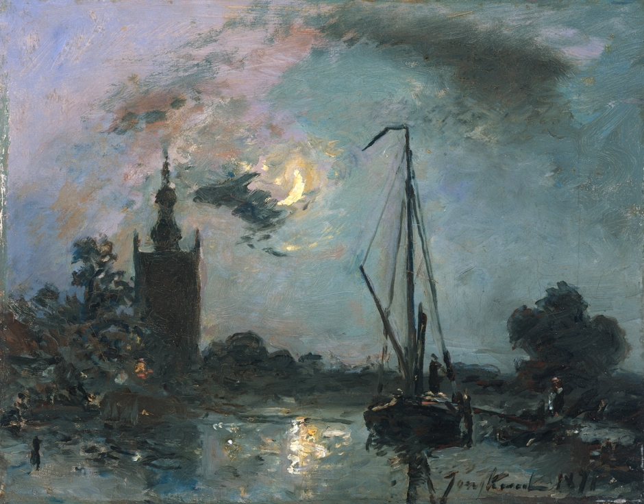 Johan Barthold Jongkind, Overschie in the Moonlight (1871), oil on canvas, 22 x 27.5 cm, Rijksmuseum, Amsterdam. Wikimedia Commons.