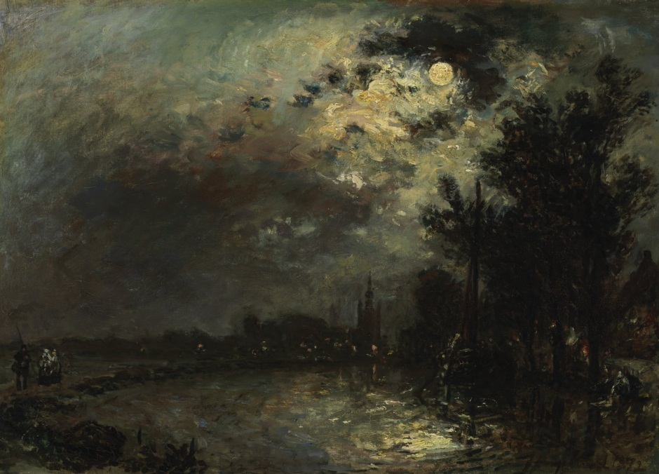 Johan Barthold Jongkind, View of Overschie in Moonlight (1872), oil on canvas, 34 x 47 cm, Museum Boijmans Van Beuningen, Rotterdam. Wikimedia Commons.