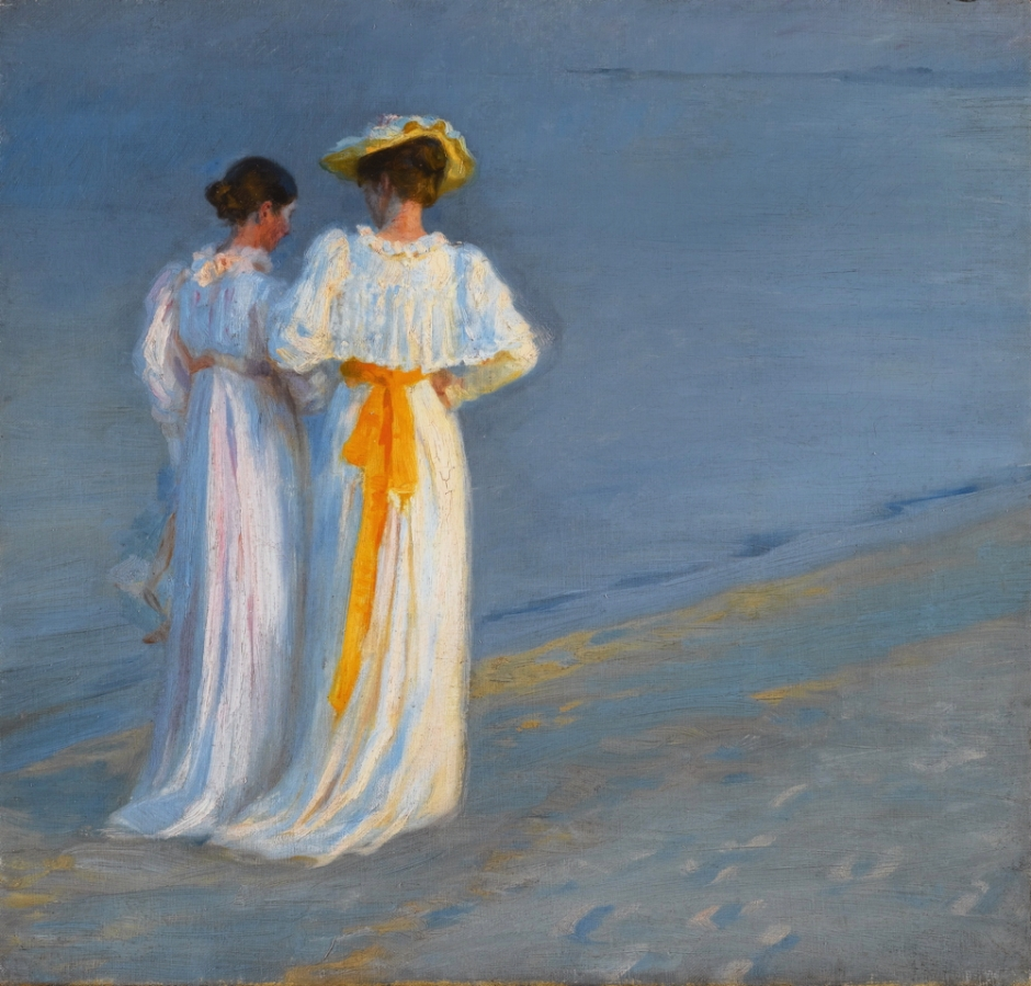 Peder Severin Krøyer, Anna Ancher and Marie Krøyer on the beach at Skagen (c 1890s), oil on canvas, 45 x 47 cm, Private collection. Wikimedia Commons.
