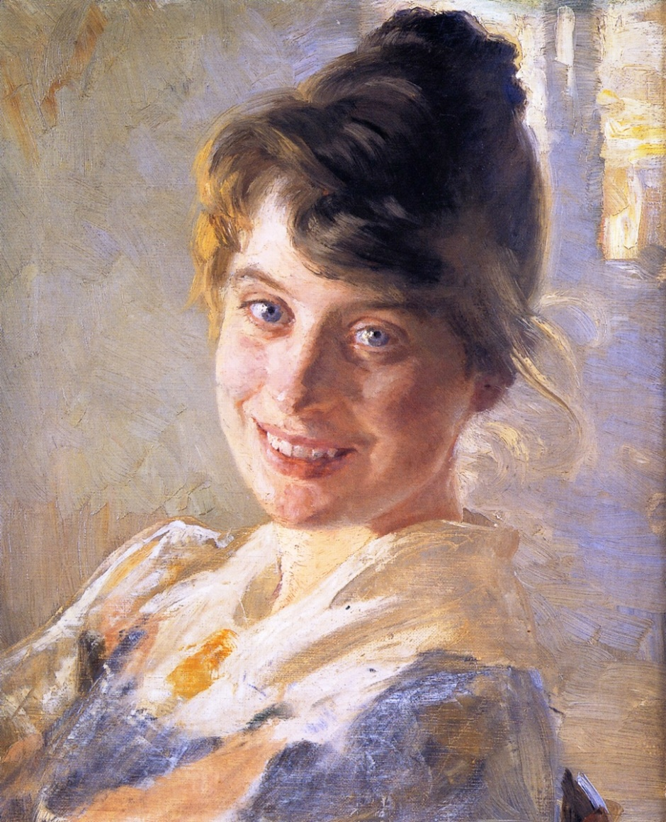 Peder Severin Krøyer, Portrait of The Artist's Wife Marie (1889-90), oil on canvas, 41 x 33 cm, Private collection. WikiArt.