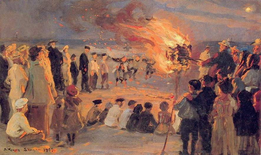 Peder Severin Krøyer, Midsummer Night's Bonfire of the Beach at Skagen (1903), oil on canvas, dimensions not known, location not known. WikiArt.