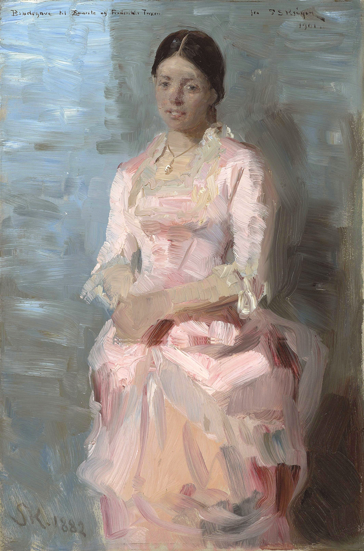 Peder Severin Krøyer, Frederikke Tuxen (1882), oil on panel, 45 x 31 cm, Private collection. WikiArt.