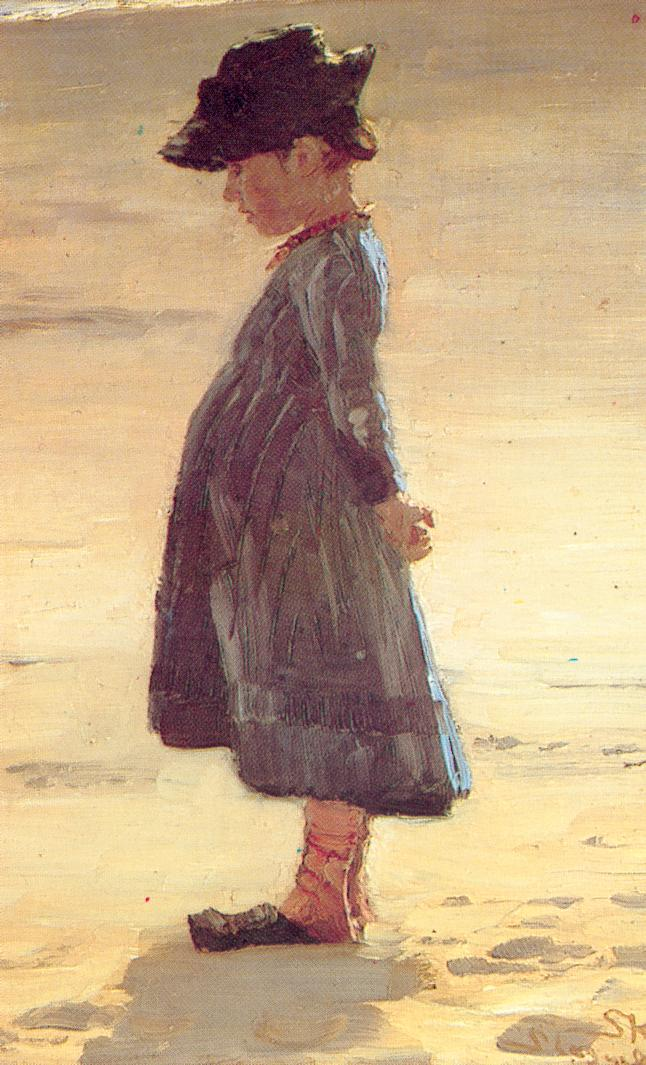 Peder Severin Krøyer, Little Girl Standing on Skagen's Southern Beach (1884), oil on panel, 31.5 x 20.4 cm, Skagens Museum, Denmark. WikiArt.