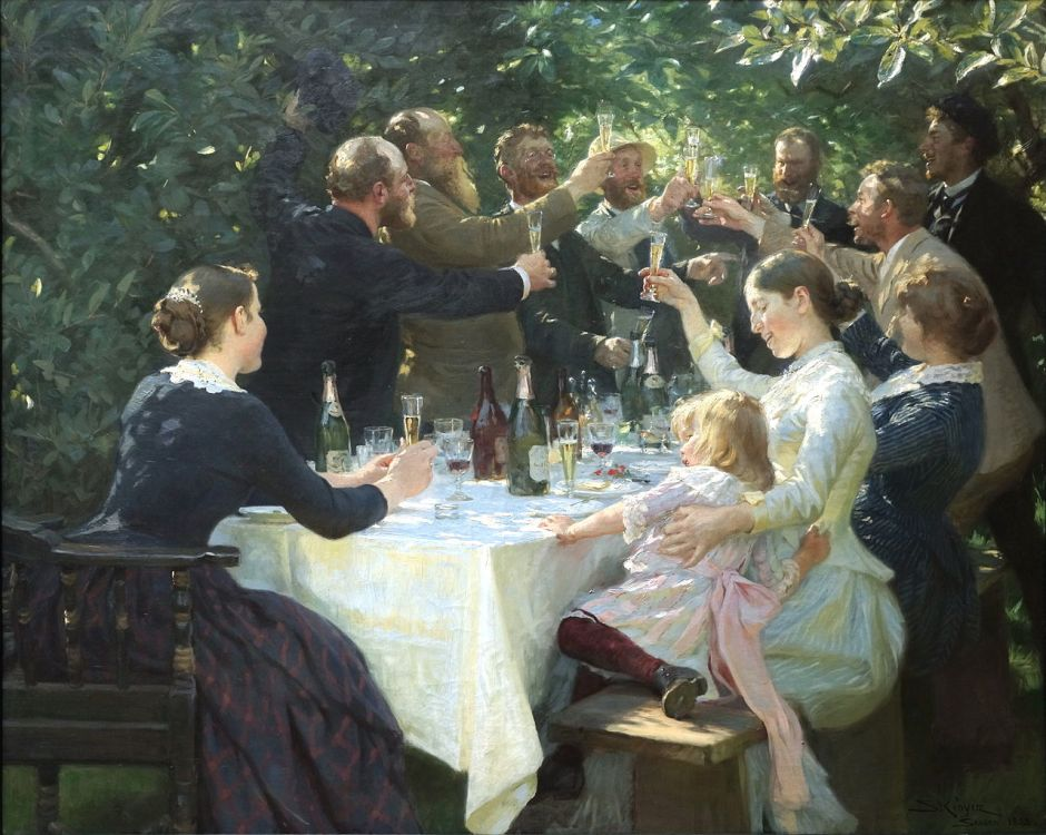 Peder Severin Krøyer, Hip Hip Hurrah! (1888), oil on canvas, 134.5 x 165.5 cm, Gothenburg Museum of Art, Sweden. WikiArt. From L: M Johansen, V Johansen, C Krohg, PS Krøyer, D Brøndum, M Ancher, O Björck, T Niss, H Christensen, A Ancher, H Ancher.