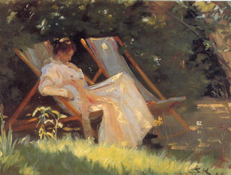 "Peder Severin Krøyer, Sketch for ""The Roses"" (Marie in the Garden) (1893), oil on canvas, dimensions not known, location not known. WikiArt."