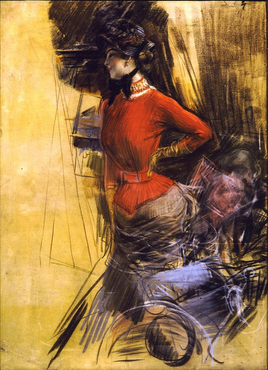 Giovanni Boldini, Lady in a Red Jacket (1878), pastel on paper, 100 x 73 cm, Private collection. WikiArt.