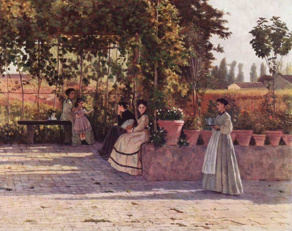 Silvestro Lega, The Pergola (1868), oil on canvas, 75 x 94 cm, Pinacoteca di Brera, Milan. Wikimedia Commons.